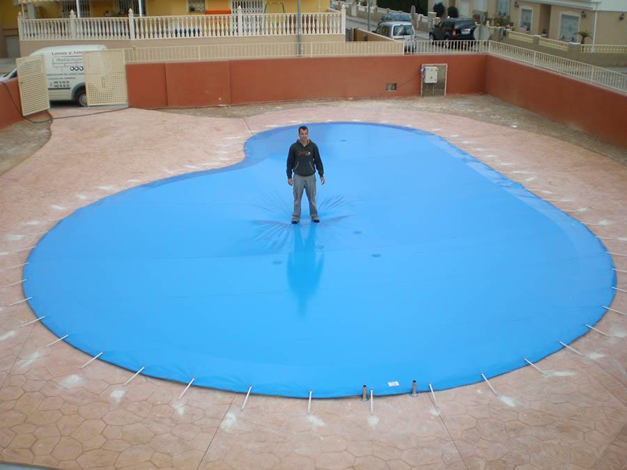 Cubiertas para piscinas en cartagena lonas y toldos for Cubiertas de lona para piscinas